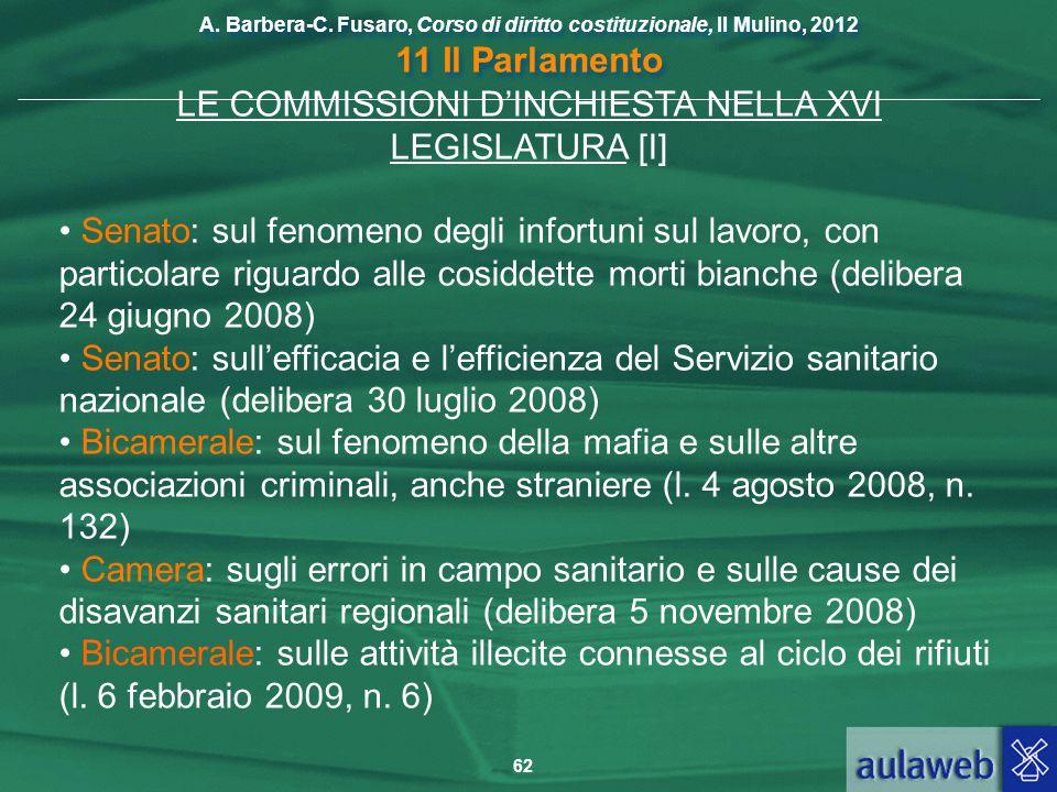 LE COMMISSIONI D'INCHIESTA NELLA XVI LEGISLATURA [I]